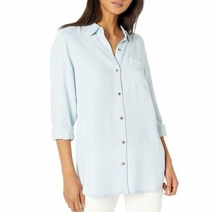 Daily Ritual Women's Tencel Long-Sleeve Button-Up